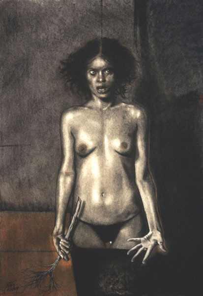 EJECUCIÓN | charcoal, sanguine / paper on linen | 37.99 x 26.77 in | 2003 Arturo RIVERA