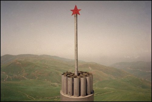 RUSSIA. Republic of Daghestan. July, 2000. Near the town of Andi, on the Chechen border. Memorial for a dead Russian soldier. © Thomas Dworzak/Magnum Photos
