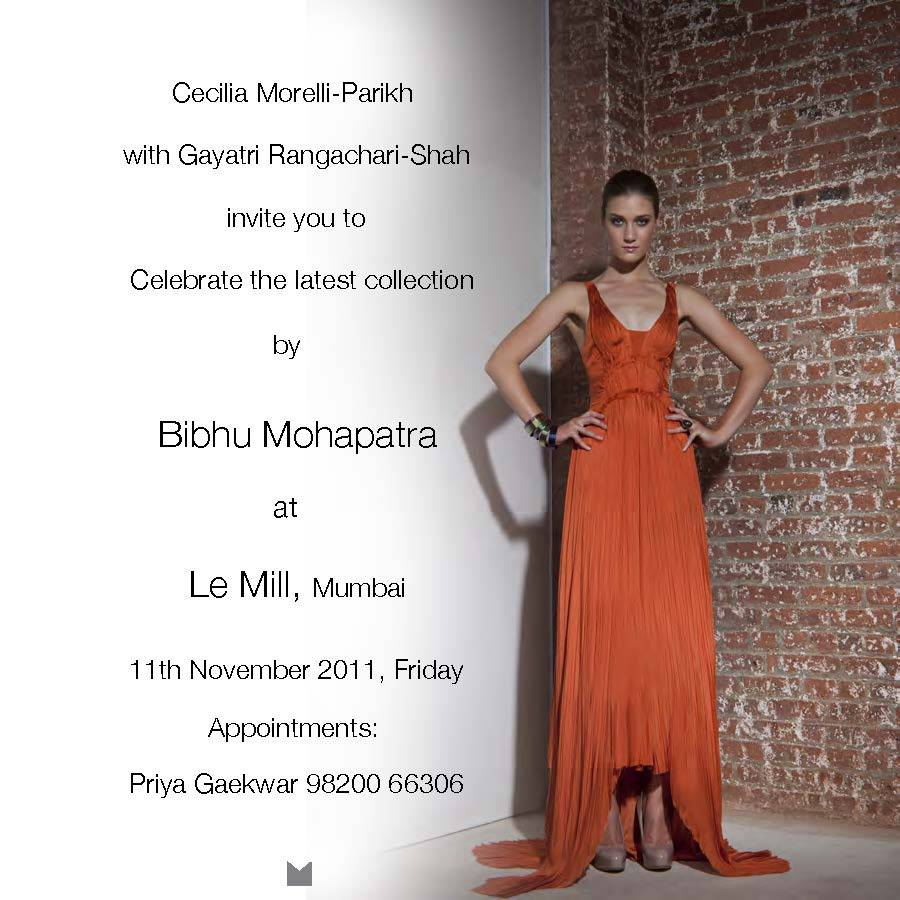 Bibhu Mohapatra introduces his Luxury Brand to India Thursday, November 11th, 2011 During Mumbai Trunk show at Le Mill Le MillNandlal Jani Road,Mumbai, India