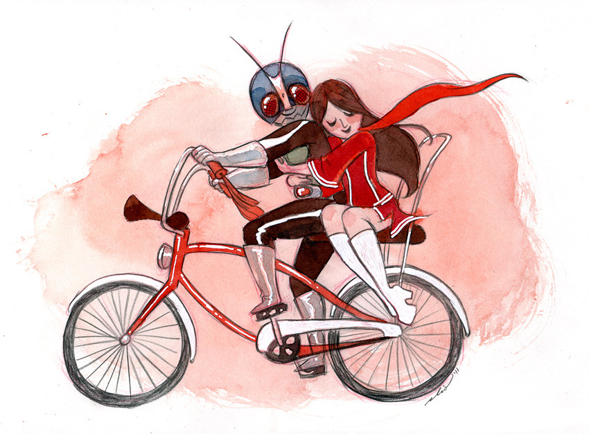 Awesome Illustration by cliobablio:  Kamen Love for Q Pop's Kamen Rider vs. Super Sentai show!