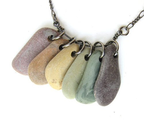 Natural rainbow rock necklace that I made!