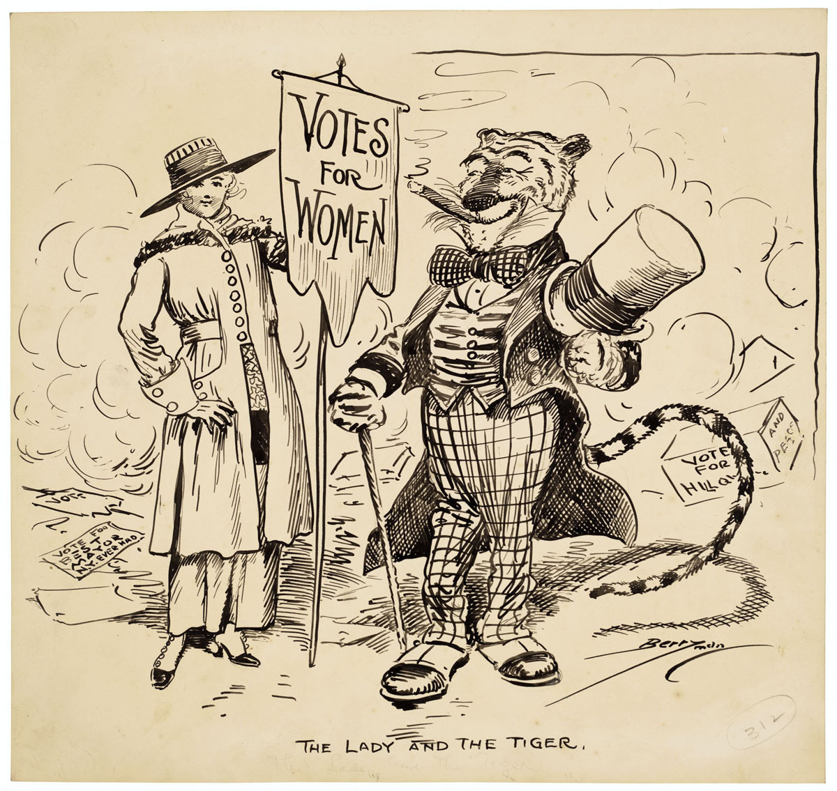 The Lady and the Tiger, 11/07/1917 This cartoon by Clifford K. Berryman depicts the two big winners on New York's Election Day, 1917 — Women's Suffrage, and the Tammany Hall political machine, represented by the Tammany Tiger.   While some states allowed women to vote, no national law guaranteed women that right until the 19th Amendment to the Constitution was ratified in 1920.