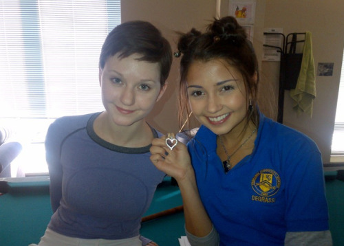 Just Degrassians, being cute. Cristine is sporting a piece of jewelry, sent to her by a fan. Very sweet