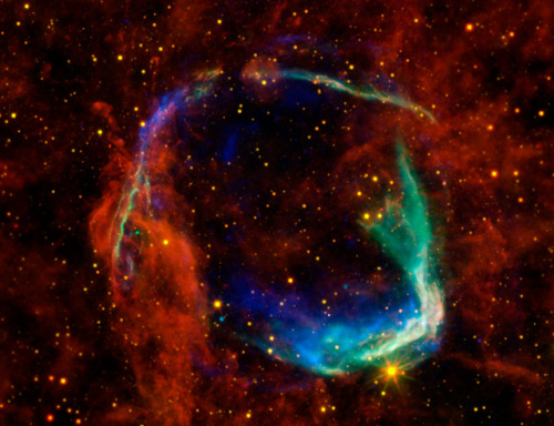 "Oldest Recorded Supernova (NASA, Chandra, Spitzer, 10/26/11) by NASA's Marshall Space Flight Center on Flickr.Via Flickr: This image combines data from four different space telescopes to create a multi-wavelength view of all that remains of the oldest documented example of a supernova, called RCW 86. The Chinese witnessed the event in 185 A.D., documenting a mysterious ""guest star"" that remained in the sky for eight months. X-ray images from NASA's Chandra X-ray Observatory and the European Space Agency's XMM-Newton Observatory are combined to form the blue and green colors in the image. The X-rays show the interstellar gas that has been heated to millions of degrees by the passage of the shock wave from the supernova.  Infrared data from NASA's Spitzer Space Telescope, as well as NASA's Wide-Field Infrared Survey Explorer (WISE) are shown in yellow and red, and reveal dust radiating at a temperature of several hundred degrees below zero, warm by comparison to normal dust in our Milky Way galaxy.  By studying the X-ray and infrared data together, astronomers were able to determine that the cause of the explosion witnessed nearly 2,000 years ago was a Type Ia supernova, in which an otherwise-stable white dwarf, or dead star, was pushed beyond the brink of stability when a companion star dumped material onto it. Furthermore, scientists used the data to solve another mystery surrounding the remnant — how it got to be so large in such a short amount of time. By blowing a wind prior to exploding, the white dwarf was able to clear out a huge ""cavity,"" a region of very low-density surrounding the system. The explosion into this cavity was able to expand much faster than it otherwise would have.  This is the first time that this type of cavity has been seen around a white dwarf system prior to explosion. Scientists say the results may have significant implications for theories of white-dwarf binary systems and Type Ia supernovae.  RCW 86 is approximately 8,000 light-years away. At about 85 light-years in diameter, it occupies a region of the sky in the southern constellation of Circinus that is slightly larger than the full moon.   Credit: X-ray: NASA/CXC/SAO & ESA; Infared: NASA/JPL-Caltech/B. Williams (NCSU)"