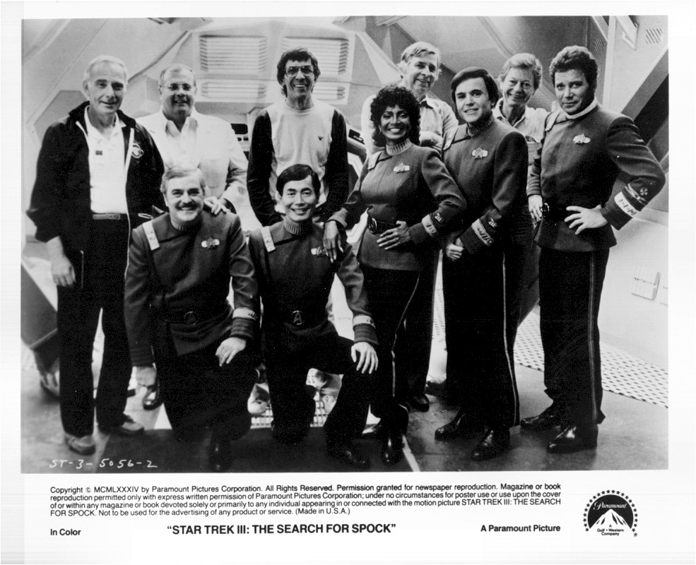 The cast and creators of Star Trek III: The Search for Spock.  In addition to Kirk, McCoy, Scotty, Sulu, Chekov and Uhura, we've also got director Leonard Nimoy (who technically did not star in the film; he only appeared in the end scenes and was not in the opening credits) producer Ralph Winter, producer Harve Bennett, and Trek overall Creator Gene Roddenberry. ((Like This?  Check Out My Archive and Follow Me!))