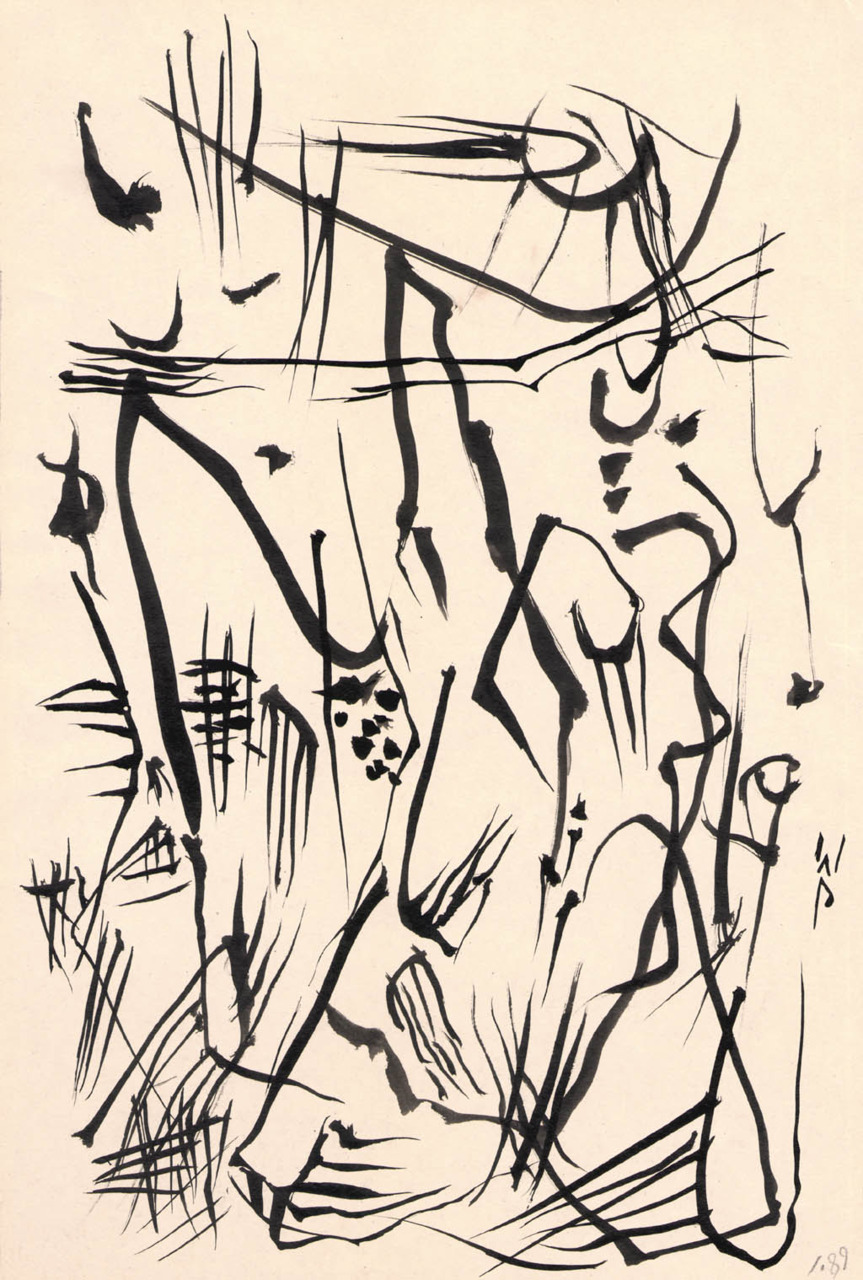gilliflower:  Wolfgang Paalen, Untitled (automatic drawing), circa 1950  Austrian surrealist Wolfgang Paalen is one of the great innovators of modern art. He invented the technique of fumage (painting with smoke), incorporated cutting-edge scientific theories and the forms of indigenous American art into the visual dialogue of his time, powerfully influenced American postwar painters, and edited one of the most influential art journals of the 20th century (Dyn). For more: Online: Paalen-Archiv in Berlin Print: Wolfgang Paalen, Artist and Theorist of the Avant-Garde Exhibition catalogue: Farewell to Surrealism: The Dyn Circle in Mexico (+ exhibition website)