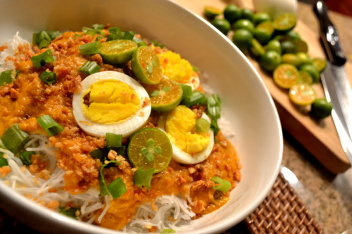 vivafilipinas:  Pancit Palabok Pancit palabok is a Philippine noodle dish of Chinese origin. Thin rice noodles are covered with a thick, shrimp-flavored sauce and topped with prawns, chicharon (pork scratchings), hard-boiled eggs, tinapa (smoked fish) flakes and slices of green onion, with a generous squeeze of calamansi all over. (from manyamanblog)