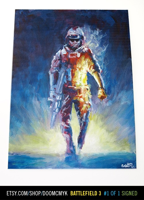 Battlefield 3 fan art acrylic 9x12 painting available at: http://www.etsy.com/shop/doomcmyk 1 of 1, Signed and dated