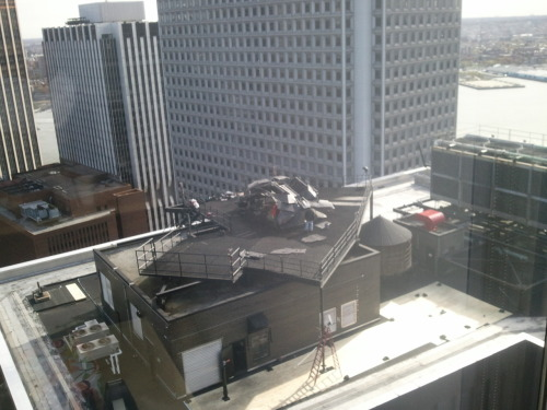 omgarytdkr:  Batwing on the roof of the building on set from New York City (USA)THE DARK KNIGHT RISES