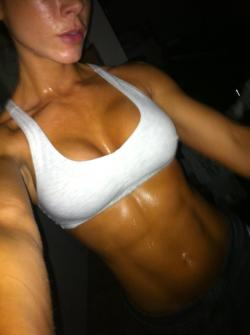 healthylivingforyou:  rippedandfit:  THIS. Is how sweaty you should be after a real, tough workout.  Not like all those pretty pictures of models who pretend like they've been working out - with their perfect hair, skin, makeup, not a drop of sweat, not even out of breath.   I think everyone needs a reminder of this.