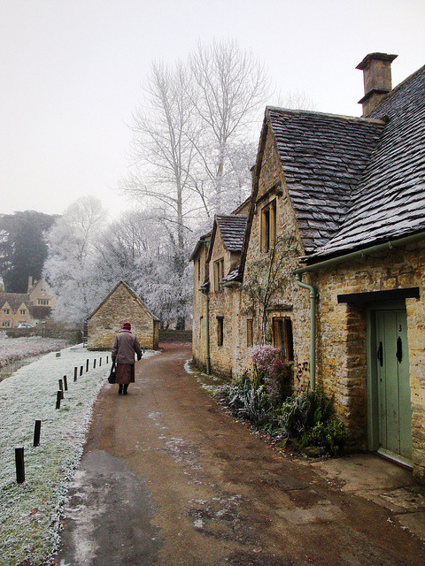 enchantedengland:    Bibury in December  | by © agustinchito    enchantedengland: Bleakly beautiful, not a contradiction in terms.   Home. Please