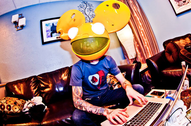 deadmau5 (aka Joel Zimmerman) prepares to go onstage at Bill Graham Auditorium in San Francisco, October 29, 2011. #RozOonTheGo