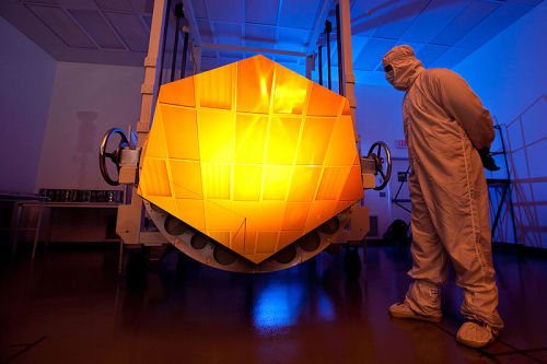 scinerd:  This is a component of the James Webb Space Telescope (JWST) primary mirror. Overall, the mirror will consist of 18 of these components. As a figure of reference, the Hubble Space Telescope primary mirror is about the size of 3 or 4 of these pieces, and we've all see the image quality which that provides. JWST was almost cancelled recently after budget troubles, but thankfully further funding has been confirmed. The funding cut was proposed despite 75% of the telescope having either been already completed or undergoing testing.