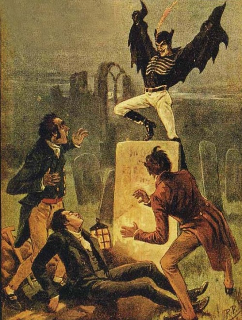 "Spring Heeled Jack - The Terror of London. Illustration from a comic book c. 1904 The story of Spring Heeled Jack begins rather innocently as a simple rumor starting in the south western area of London, early 19th century.  Beginning in 1837, citizens began reporting sightings of a figure who could seem to leap across entire streets in one bound and over ten foot hedges with scary speed and precision.  Dressed in black and often taking on demonic features, Spring Heeled Jack's eyes glowed like red ""balls of fire"" and was often seen breathing blue flames through his nostrils and mouth"