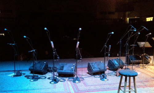 Rehearsals are underway at the CFSB Center in Murray, KY! Microphones await the all-star musicians joining us for our celebration of Bill Monroe: Roland White, Blake Williams, Bob Black, Bobby Hicks, Tom Ewing, Peter Rowan, Mark Hembree, Stuart Duncan, and Kathy Chiavola.