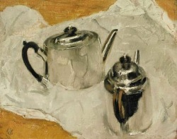 stilllifequickheart:  William Nicholson Silver Teapots 1938