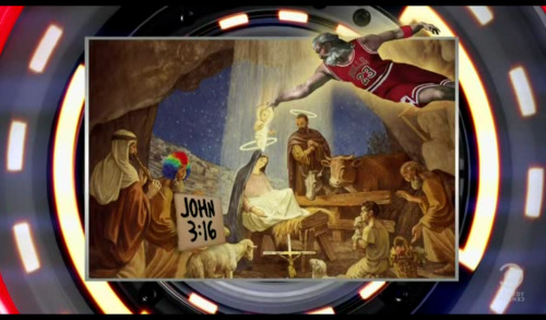 God slam dunking the Baby Jesus.