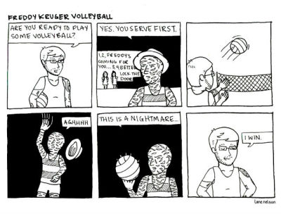 fantasticforyou:  me playing volleyball with freddy kreuger, nbd.  oh hey, i made this!
