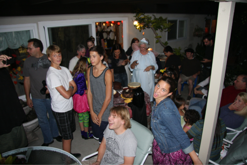 Kids having fun at GMas house at her Halloween / birthday party.  Kevin appears to be having a good time.  Oct. 30, 2011