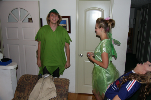 Peter Pan came to visit. I'm amazed that Haley was able to get Kevin to wear tights.  She was Tinkerbell of course.  Oct. 29, 2011