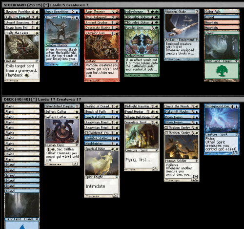 Innistrad Draft (8-4), 5/11/2011 White seemed pretty open with decent but not amazing cards. I was pretty open on a second colour going into pack two, but the best thing I opened was an Invisible Stalker, so I figured I would try for the human equipment deck. Unfortunately the only thing I found was one Spectral Flight and a Dagger. Overall I think this deck turned out pretty well; no bombs but pretty consistent. Unfortunately I lost a pretty close match in the first round. Game one I stomped all over him, game 2 was pretty close and I got him down to around 3 life before flooding out and letting him stabilise, and game 3 I should have won, but I clicked through the beginning combat phase without tapping one of his dudes with my Priest, which let him deal me lethal. I obv was going to draw the Fiend Hunter that should have let me attack for the last few damage the next turn. Unfortunately I only played Mindshrieker once and he killed it almost immediately, but it would have won me either of those games.