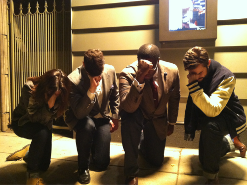 canarycoal:  Chicago Menswear Tebowing.  Only reason why I'm not in this photo is because I took it. Chicago represent feat. canarycoal, suitsandboots, ordinaryglory and theodinspire.