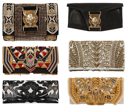 BALMAIN CLUTCHES; nothing less than AMAZING! Sensory Overload. A whirlwind of buckles, bolts, beads, embroidery & studded goodness!