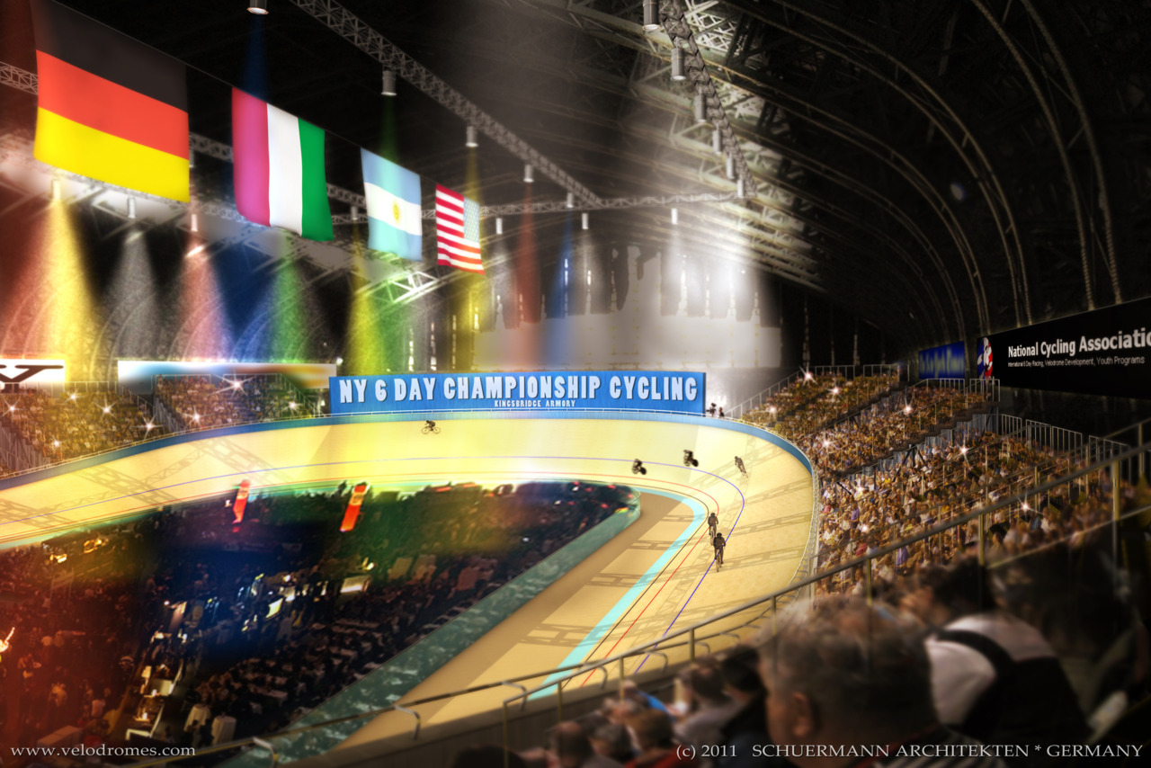 "NEW YORK VELODROME PLANS?   Velodrome architect Ralph Schuermann revealed his rendering of the proposed Knightsbridge Velodrome in New York City earlier this week as a part of a drive to raise interest and awareness for the project.  Let alone if this velodrome even gets built, wouldn't it be crazy to attract that kind of crowd to a Six Day racing event in the USA?  BikeSnobby says ""no way!""  Maybe I'm just an idealist but I think it could happen."