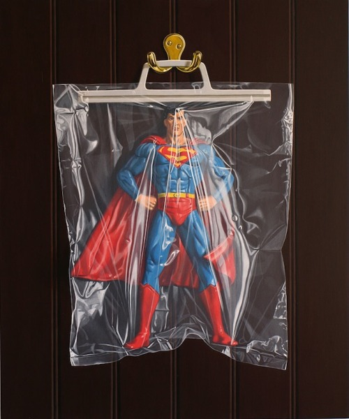 Photo-realisticTrapped Superhero Paintings by http://www.simonmonk.com/