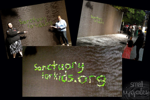 #Sanctuary For Kids - Small Rippling on a wall of rippling water in  Melbourne, Australia These photos were taken on the 22nd October 2011 by Michelle (admin), Rebecca (@rebeccavoy) and Lisa (@PaganX) in Melbourne, Australia Description: Becca, Michelle (admin) and I did this on the weekend of Armageddon Expo in Melbourne. We were heading back from dinner when we came across this rippling wall of water where others had written words with leaves and decided the opportunity was too good to pass up! So for the next 30 minutes or so we gathered leaves and made this tribute to SanctuaryForKids! We gathered a few onlookers during that time and several people took photos of our handiwork! <3_____________________________________________________________________ To learn more about Small Ripples please visit here smallripples.wordpress.com To learn more about the amazing charity Sanctuary For Kids please visit their website www.sanctuaryforkids.org