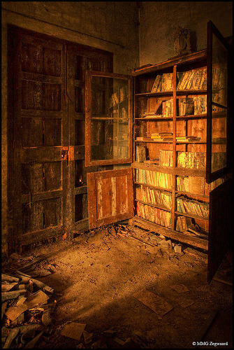 A bookshelf - still partially full - inside an abandoned castle in Spain (by Martino - NL)