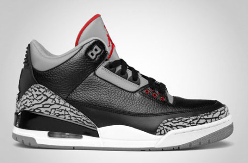 Air Jordan 3 Retro Black/Varsity Red – Cement Grey This is as classic as it gets. Jordan Brand will be releasing the Air Jordan 3 Retro in a Black/Varsity Red – Cement Grey colorway for Holiday 2011. A mix of tumbled and clean leather is placed on the upper, with accents set with a grey perforated leather and elephant print. A release of the sneaker is scheduled for November 25th, 2011. Also make sure to check out the Air Jordan 3 'Black Flips' releasing on December 3rd, 2011