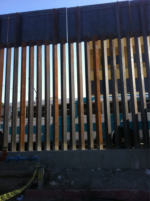 The US-Mexico border fence that cuts Nogales in half.