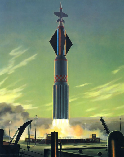 1964 …green dawn lift-off! by x-ray delta one on Flickr. artist- Bonestell