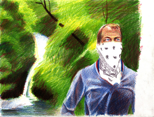 Lurking 234 - November 4 2011Coloured pencil and ballpoint pen on paper