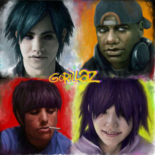 peachpeaches:  Gorillaz by ~Darey-Dawn  I'M GOING TO DIE