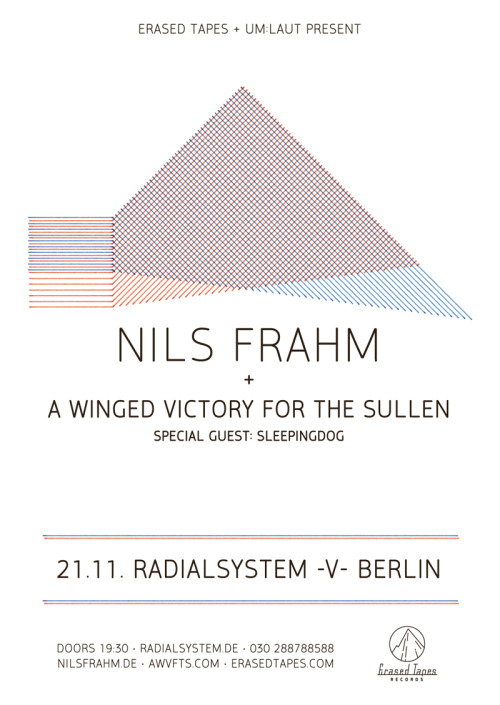 NILS FRAHM – FELT TOUR In case you haven't heard, Nils Frahm is currently on his Felt Tour throughout Europe with plenty of new merchandise (cds, vinyl, the first batch of t-shirts and a special tour surprise) in the boot of his Volkswagen. So make sure you pay him a visit and leave some love on his Facebook page. I'm sure he will love that! We're especially proud to present him and his label mates A Winged Victory For The Sullen at one of Berlin's greatest concert halls: Radialsystem V on November 21st. 03.11. Nijmegen (NL) – Lux Theater 04.11. Groningen (NL) – De Oosterpoort 05.11. Den Haag (NL) – Rewire Festival / De Kerk 06.11. Gent (BE) – Sint Elisabethkerk 07.11. Liverpool (UK) – Scandinavian Church 08.11. Manchester (UK) – Band On The Wall 09.11. Reading (UK) – Reading Minster 11.11. Brighton (UK) – Green Room12.11. London (UK) – Café Oto › tickets 13.11. Paris (FR) – Montreuil › tickets 14.11. Dijon(FR) – Sabotage @ Concert en Appartment15.11. Zürich (CH) – Stall6 / Theater Gessnerallee 16.11. Luzern (CH) – Südpol 19.11. Bari (IT) – Timezones Festival 21.11. Berlin (DE) – Radialsystem V › tickets 26.11. Leeuwarden (NL) – Explore The North 21.01. Cologne (DE) – E'de Cologne / Basilika St. Aposteln 26.05. Den Haag (NL) – Dag In De Branding / Paard Van Troje Hope to see some of you at our big night at Radialsystem V Berlin on November 21. We cannot wait. Thank you all for listening.