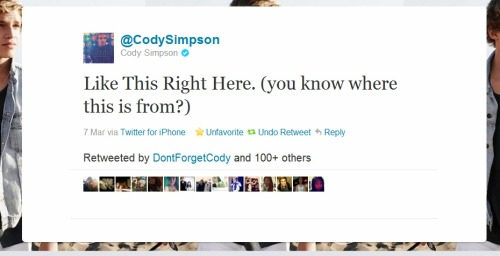 curdysimpsonyeah:  careful-ly:  codyismylifebaybee:  codstah:  codysimpsoncentral:  howdyougettobesofly:  eatsleepsimpsonize:  codyismylifebaybee:  codyismylifebaybee:  forever-an-unbroken-angel:  simpsonizerswagge:  andreazamora143:  megustacodysimpson:  gravity-iny0ur-universe:  dontyoucallhimback:  gravity-iny0ur-universe:  swagstralian:  yeah that's TOTALLY from that so raven, silly cody.  no cody… i dont know, maybe… not just you? LOL just kidding.  lol, it's obviously in a justin bieber song!  ^ are u kidding me? no no no, it's a katy perry song i'm sure.  Shut the fuck up guys hes obviously talking about wmyb.  Guys, It's from his song, All day :D  omfg, you dumbass,^  ^ GUYS! Its obvz. Selena Gomez!  nonono i'm 100% positive it's one of Hitler's quotes  wait no, it's shakira sorry  i thought it was from elvis? no?  are you guys high or something.. its obvs Hannah Montana  wait isn't it from Martin Luther King's 'I Have A Dream' speech?  k wtf guys, know your stuff…it's taylor swift  it's what osama bin ladin said before he got shot  guys, you are so dumb, of course its Hillary Duff it's obviously from Obama's winning speech.  No, no, no guys. It's actually my mom's quote.