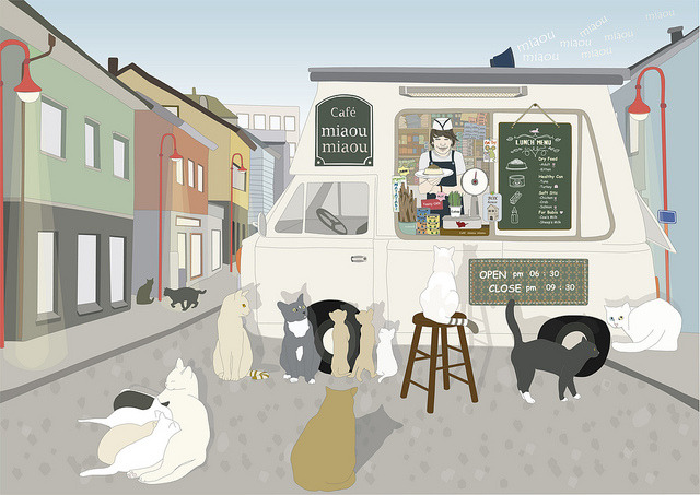 Cat cafe by yellow cloud on Flickr.