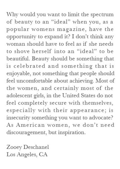 respectisbeautiful:  A letter 17 year old Zooey Deschanel wrote to the editors of Vogue. Vogue ended up publishing the letter.   Amen to that