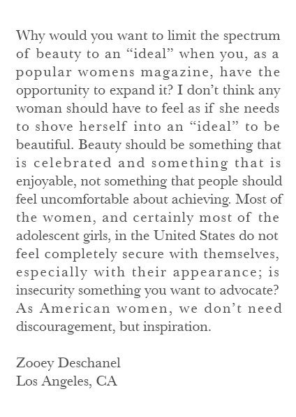 respectisbeautiful:  A letter 17 year old Zooey Deschanel wrote to the editors of Vogue. Vogue ended up publishing the letter.
