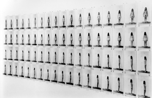 fyeahfeministart:  Eleanor Antin, Carving: A Traditional Sculpture, 1972 These photos document Antin dieting and they are taken from all sides of her naked body every day for a 36 day period. She is both the sculpter and the sculpted as she carves away at herself, removing fat. These photos act as anthropometric photography; a type of photography that was supposed to convey objectivity to measure the human body. The main idea of this conceptual piece was a physical manifestation of the pressures put on women in Western society. She was inspired by how physical standards for women are continuously designed and re-designed according to trends, fashions and perceptions of society. Her method of carving her own body was referencing the -male- sculptor as he carves out the ideal female shape in classical art, and then puts that particular representation on a pedestal.