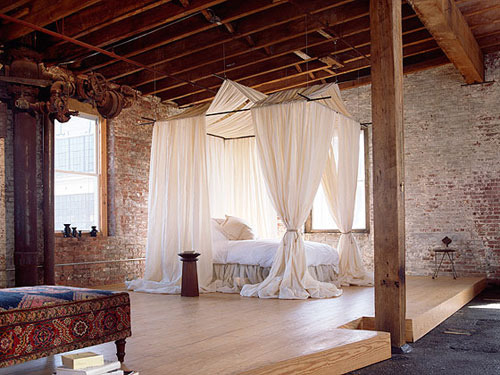 Loft bedroom with an elaborate curtained bed (by ooh_food)