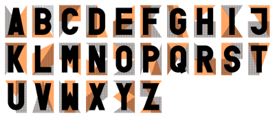 Typeface based on semaphore aiding a quick screen printed poster Jas Stefanski made for a Dexter Sinister lecture, attempting to identify unique characteristics in each letter, or work against them, I haven't decided. Probably not finished yet, I haven't decided that either.
