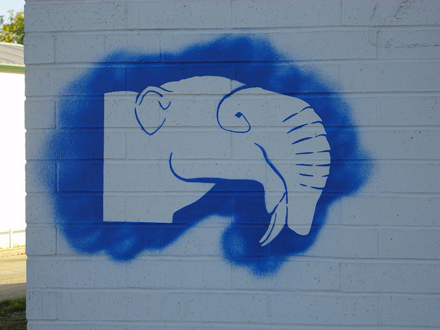 Another one of my Deinotherium. It is on the abandoned car care place at Bluebonnet an South Lamar.