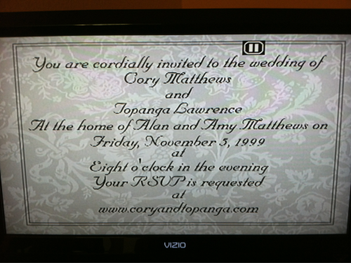 fuckyeahboymeetsworld-:  source: andiswim  It's Cory and Topanga's wedding anniversary today!  aw! :')