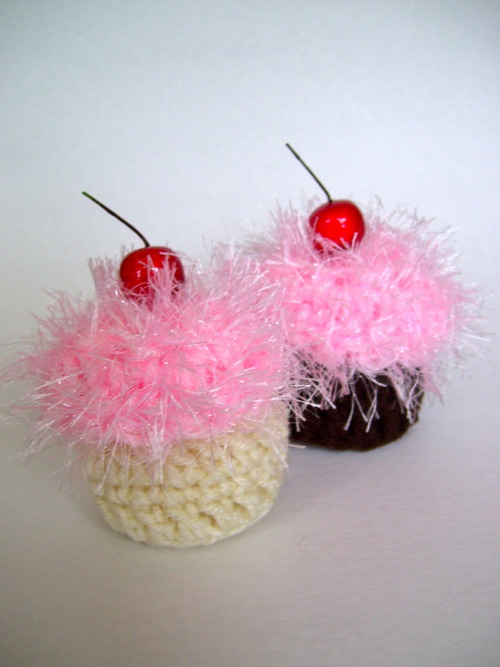 Vanilla scented crocheted cupcakes, perfect for sock drawers! $5 a piece, sold by the half dozen & dozen. Order in the ask, submit or email me at alicia@aliciahilltaylor.com