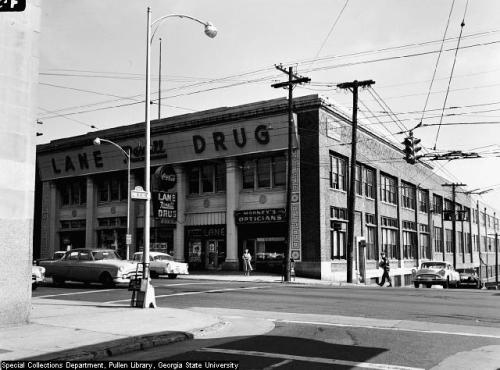 The building that houses the Peachtree-Pine Shelter in 1956.  SoNo Atlanta.