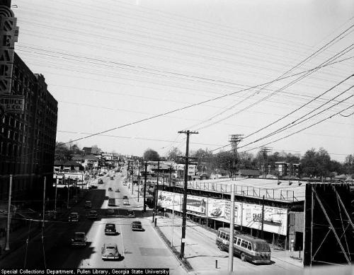 Looking west on Ponce de Leon Ave in 1953.  Midtown Atlanta.