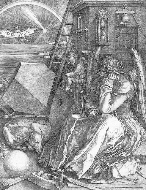 bellswithin:  Albrecht Dürer, Melencolia I. 1512. Engraving, 239 x 189 mm.   [T]he concept of the pathological state, in which the most simple object appears to be a symbol of some enigmatic wisdom because it lacks any natural, creative relationship to us, was set in an incomparably productive context.  It accords with this that in the proximity of Albrecht Dürer's figure, Melencolia I, the utensils of active life are lying around unused on the floor, as objects of contemplation.[…] There is one symbol that seems to have been passed over in the rediscovery of the older symbols of melancholy embodied in this engraving…This is the stone…It may be that all that is to be seen in the emblem of the stone are the most obvious features of the cold, dry earth.  But it is quite conceivable…[and] by no means improbable, that in this inert mass there is a reference to the genuinely theological conception of the melancholic, which is to be found in one of the seven deadly sins.  This is acedia, dullness of the heart, or sloth.  Walter Benjamin, The Origin of the German Tragic Drama, trans. John Osborne. (London: Verso, 2003). 140, 155.